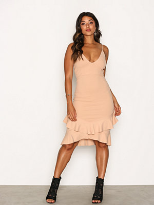 Missguided Strappy Double Frill Hem Midi Dress Champagne