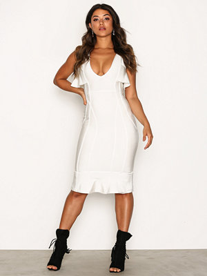 Missguided Cold Shoulder Frill Bandage Midi Dress White