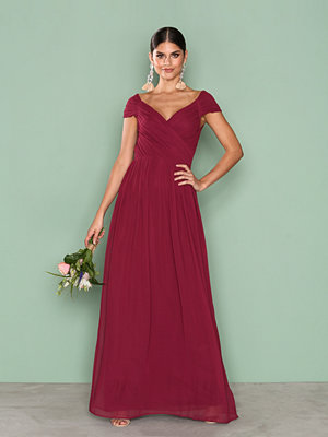 NLY Eve Cap Sleeve Maxi Gown Burgundy