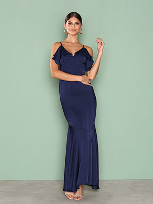 Missguided Strappy Frill Detail Maxi Dress Navy