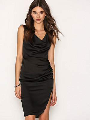 Missguided Strappy Cowl Split Side Midi Dress Black