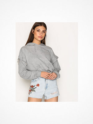 Topshop MOTO Flower Embroidered Denim Mom Shorts Light Blue Denim