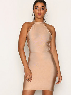 Missguided High Neck Bandage Cross Bodycon Dress Taupe