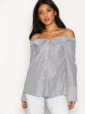 Topshop Stripe Bardot Shirt Grey