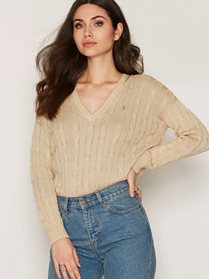 Polo Ralph Lauren Long Sleeve V-neck Side Split Sweater Natural