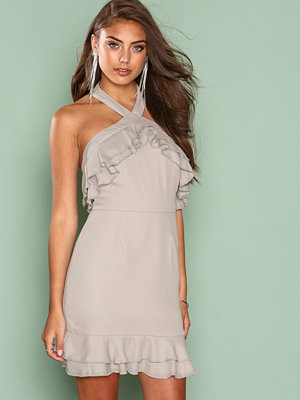 Missguided Crepe Double Frill Shift Dress Grey