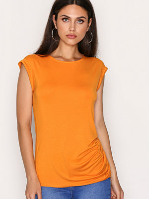 New Look Ruched Side Roll Sleeve Top Orange