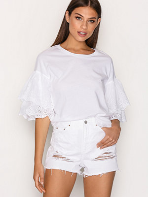 Topshop MOTO Highwaisted Rip Mom Short White