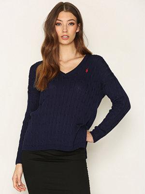 Polo Ralph Lauren Long Sleeve V-neck Side Split Sweater Navy