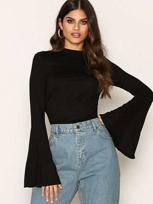 Toppar - NLY Trend Wide Sleeve Polo Top Svart