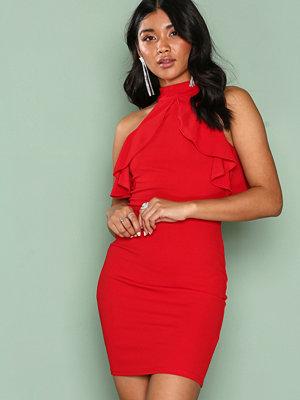 Ax Paris Frill Detail Choker Dress Red