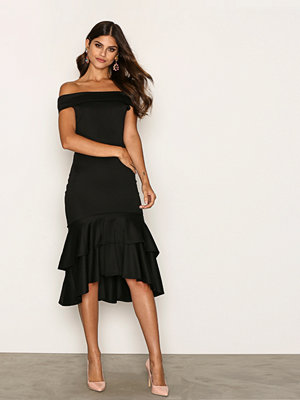 NLY One Double Frill Scuba Dress Svart