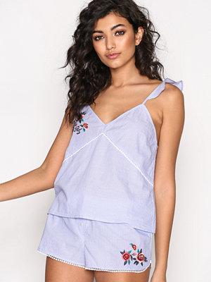 Pyjamas & myskläder - River Island Stripe Embroidered Pyjama Shirt Blue Stripe