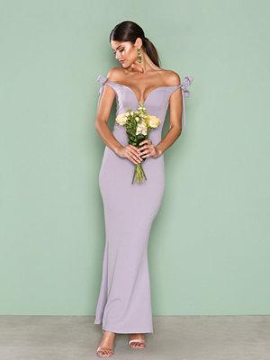 Missguided Bardot Tie Maxi Dress Purple