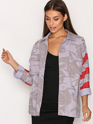 Topshop Ripped Camouflage Print Shacket Lilac