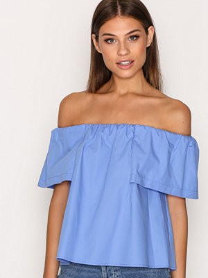 Topshop Cotton Poplin Bardot Top Blue