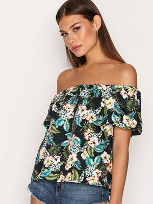 Topshop Hawaiian Print Bardot Top Multi
