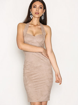NLY One Faux Suede Bodycon Beige