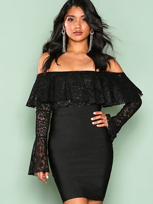 Wow Couture Flute Sleeve Off Shoulder Dress Black