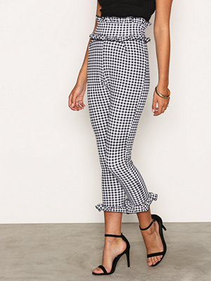 NLY Trend rutiga byxor Jersey Frill Pants Black/White