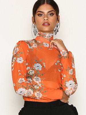 NLY Trend Printed Mesh Top Orange