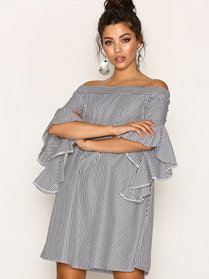 River Island Bell Sleeve Bardot Swing Dress Black Stripe