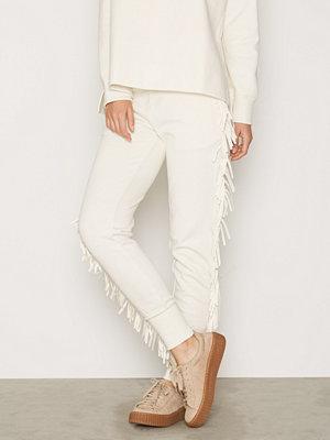 Polo Ralph Lauren vita byxor Fringe Sweatpant Cream