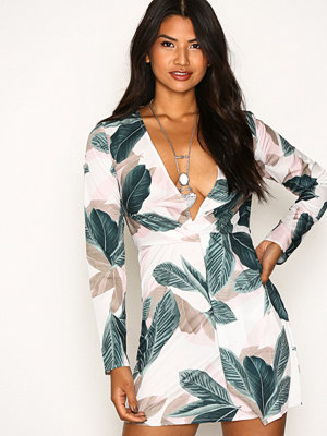 Missguided Floral Long Sleeve Knot Shift Dress Pink