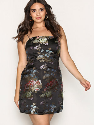 New Look Floral Print Jacquard Slip Dress Black