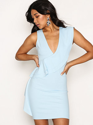 River Island Sleeveless Frill Front Bodycon Dress Blue