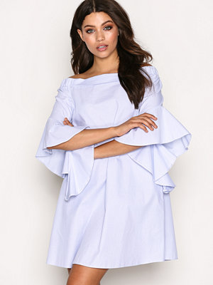 River Island Bell Sleeve Bardot Swing Dress Light Blue
