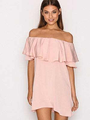 Topshop Dip Hem Bardot Dress Light Pink