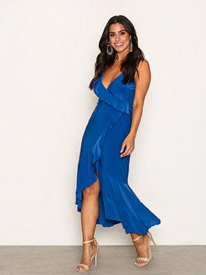 NLY One Wrap Frill Midi Dress Royal Blue