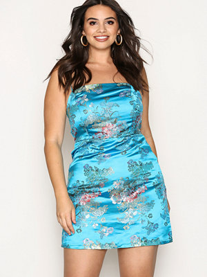 New Look Floral Print Jacquard Slip Dress Blue