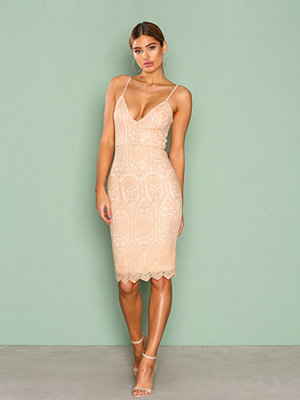 Missguided Lace Strappy Midi Dress Light Beige