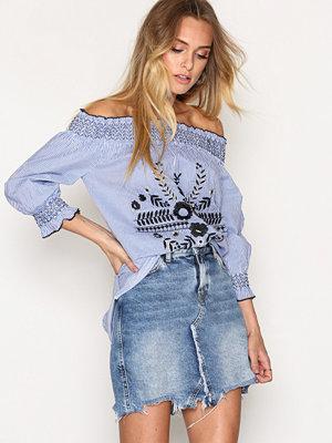 River Island Casual Bardot Poplin Shirt Blue Stripe