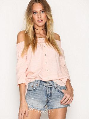 River Island Bardot Poplin Shirt Pink