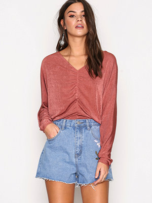 River Island Rouched Batwing Top Pink