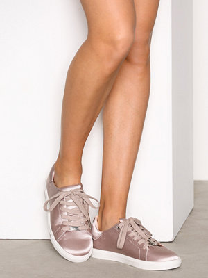 Topshop Satin Lace-up Trainers Taupe