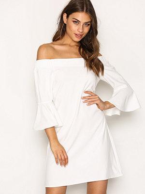 Glamorous Off Shoulder Flute Sleeve Dress White