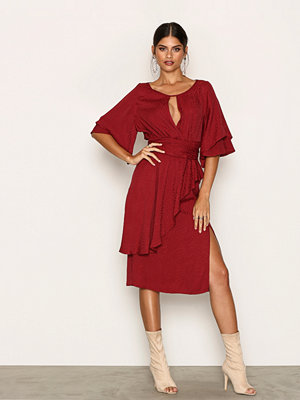 River Island Jacquard Wrap Midi Dress Dark Wine