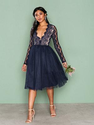 Rare London Long Sleeve Lace Tutu Dress Navy