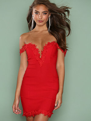 Rare London Crochet Trim Bardot Dress Red