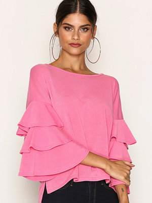 River Island Knit Frill Sleeve Top Pink