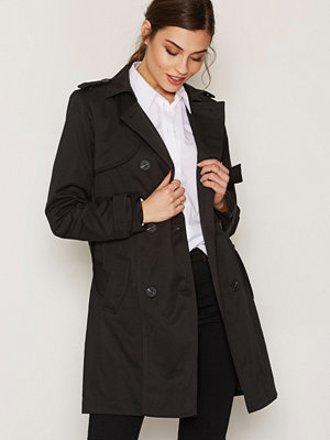 Vila Vithree Long Trenchcoat-Noos Svart