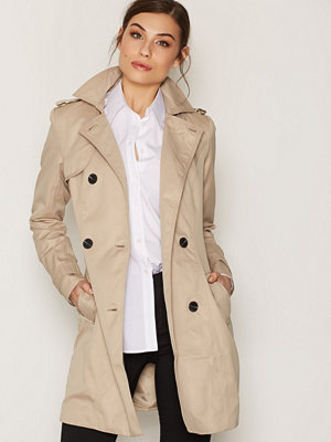Vila Vithree Long Trenchcoat-Noos Ljus Brun