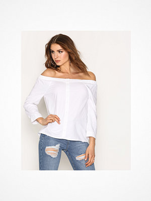 Only onlDREW 7/8 Offshoulder Shirt Noos Vit