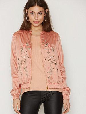 Vila beige bomberjacka med tryck Vicentri Embroidery Jacket Rosa