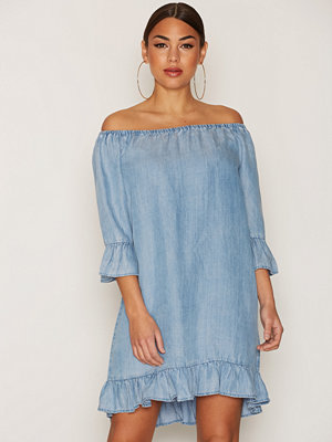 Only onlSECO Lightblue Shoulder Dnmdress Ljus Blå