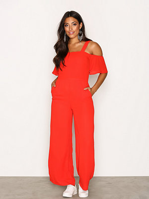 Glamorous Frill Strap Jumpsuit Red